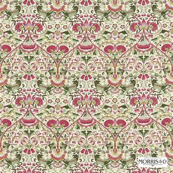 Morris and Co - Lodden 222524  | Curtain & Upholstery fabric - Red, Floral, Garden, Botantical, Traditional, Art Nouveau, Craftsman, Damask, Natural