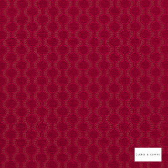 Clarke & Clarke - Lazzaro Garnet  | Curtain & Upholstery fabric - Red, Geometric, Pattern, Small Scale