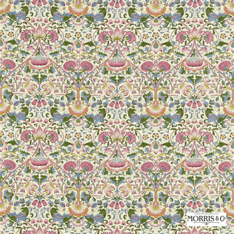 Morris and Co - Lodden 222525  | Curtain & Upholstery fabric - Pink, Purple, Floral, Garden, Botantical, Traditional, Art Nouveau, Craftsman, Damask