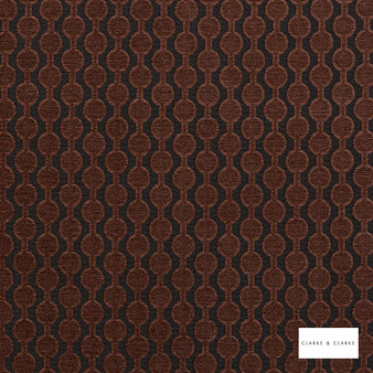 Clarke & Clarke - Lazzaro Mahogany  | Curtain & Upholstery fabric - Brown, Geometric, Pattern, Small Scale