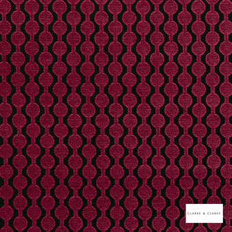 Clarke & Clarke - Lazzaro Raspberry  | Curtain & Upholstery fabric - Pink, Purple, Red, Geometric, Pattern, Small Scale