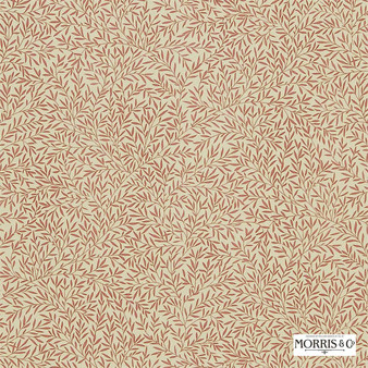 Morris and Co - Lily Leaf DMCOLI202  | Curtain & Upholstery fabric - Orange, Floral, Garden, Botantical, Farmhouse, Natural, Natural Fibre