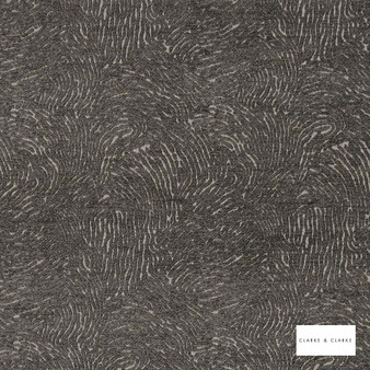 Clarke & Clarke - Levante Charcoal  | Curtain & Upholstery fabric - Black, Charcoal, Abstract, Plain, Vermicular, Fibre Blend