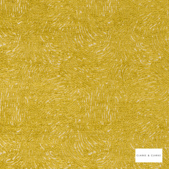 Clarke & Clarke - Levante Chartreuse  | Curtain & Upholstery fabric - Gold, Yellow, Abstract, Plain, Vermicular, Fibre Blend