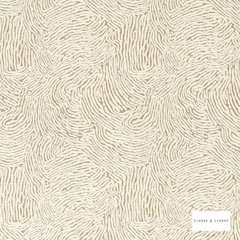 Clarke & Clarke - Levante Ivory  | Curtain & Upholstery fabric - Beige, Abstract, Plain, Vermicular, Fibre Blend