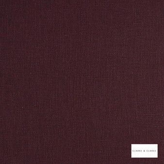 Clarke & Clarke - Lindow Aubergine  | Curtain & Upholstery fabric - Linen/Linen Look, Pink, Purple, Plain, Fibre Blend