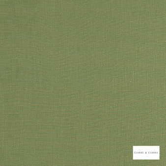 Clarke & Clarke - Lindow Moss  | Curtain & Upholstery fabric - Linen/Linen Look, Green, Plain, Fibre Blend