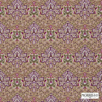 Morris and Co - Artichoke Embroidery 234543  | Curtain Fabric - Brown, Pink, Purple, Floral, Garden, Botantical, Traditional, Eclectic, Embroidery