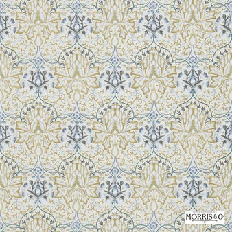 Morris and Co - Artichoke Embroidery 234544  | Curtain Fabric - Blue, Floral, Garden, Botantical, Traditional, Eclectic, Embroidery, Craftsman, Damask