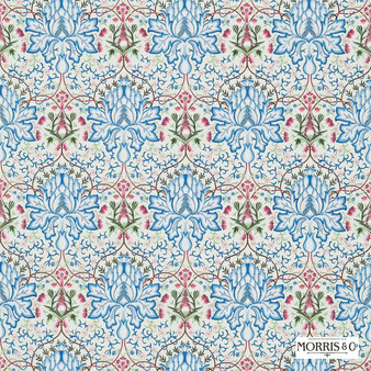 Morris and Co - Artichoke Embroidery 234545  | Curtain Fabric - Blue, Floral, Garden, Botantical, Traditional, Eclectic, Embroidery, Craftsman, Damask