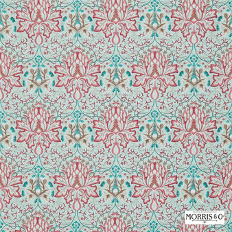 Morris and Co - Artichoke Embroidery 234546  | Curtain Fabric - Green, Red, Floral, Garden, Botantical, Traditional, Eclectic, Embroidery, Damask