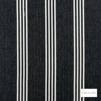 Clarke & Clarke - Marlow Charcoal  | Curtain & Upholstery fabric - Black, Charcoal, Stripe, Traditional, Natural, Natural Fibre
