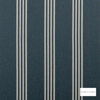Clarke & Clarke - Marlow Navy  | Curtain & Upholstery fabric - Blue, Stripe, Traditional, Natural, Natural Fibre