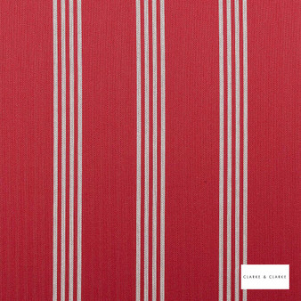 Clarke & Clarke - Marlow Red  | Curtain & Upholstery fabric - Red, Stripe, Traditional, Natural, Natural Fibre