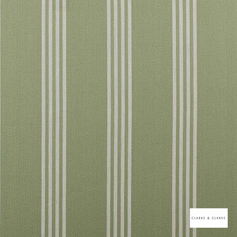 Clarke & Clarke - Marlow Sage  | Curtain & Upholstery fabric - Green, Stripe, Traditional, Natural, Natural Fibre