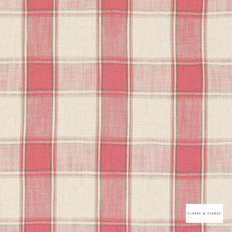 Clarke & Clarke - Montrose Raspberry  | Curtain & Upholstery fabric - Linen/Linen Look, Washable, Red, Traditional, Check, Gingham, Pattern