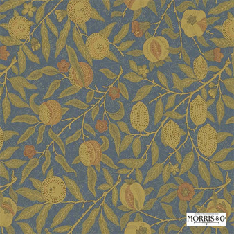 Morris and Co - Fruit 230284  | Curtain & Upholstery fabric - Blue, Gold, Yellow, Floral, Garden, Botantical, Traditional, Jacobean, Craftsman
