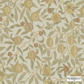 Morris and Co - Fruit 230285  | Curtain & Upholstery fabric - Gold, Yellow, Tan, Taupe, Floral, Garden, Botantical, Traditional, Jacobean, Craftsman