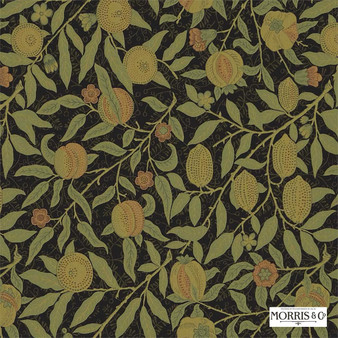 Morris and Co - Fruit 230286  | Curtain & Upholstery fabric - Brown, Floral, Garden, Botantical, Traditional, Jacobean, Craftsman, Fibre Blend