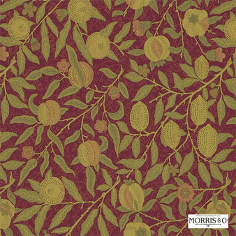 Morris and Co - Fruit 230287  | Curtain & Upholstery fabric - Red, Floral, Garden, Botantical, Traditional, Jacobean, Craftsman, Fibre Blend