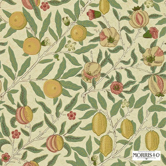 Morris and Co - Fruit WR8048/1  | Wallpaper, Wallcovering - Gold, Yellow, Floral, Garden, Botantical, Traditional, Jacobean, Craftsman