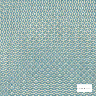 Clarke & Clarke - Orbit Mineral  | Curtain & Upholstery fabric - Green, Geometric, Circlelink, Pattern, Diaper, Small Scale, Fibre Blend