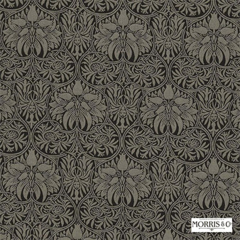 Morris and Co - Crown Imperial 230292  | Curtain & Upholstery fabric - Black, Charcoal, Traditional, Art Nouveau, Craftsman, Damask, Natural