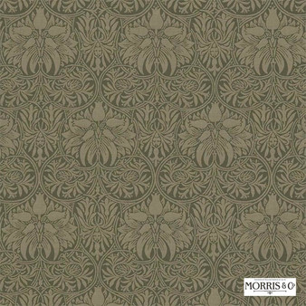 Morris and Co - Crown Imperial 230293  | Curtain & Upholstery fabric - Brown, Traditional, Art Nouveau, Craftsman, Damask, Natural, Natural Fibre