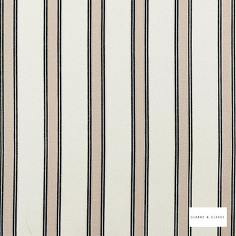 Clarke & Clarke - Oxford Charcoal  | Curtain & Upholstery fabric - Beige, Stripe, Traditional, Natural, Natural Fibre