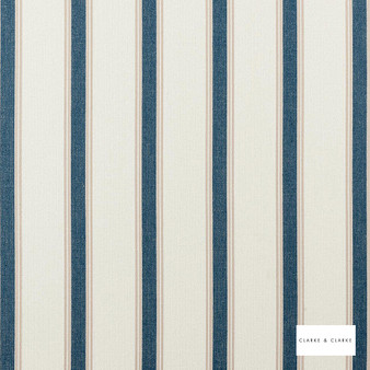 Clarke & Clarke - Oxford Navy  | Curtain & Upholstery fabric - Blue, Stripe, Traditional, Natural, Natural Fibre