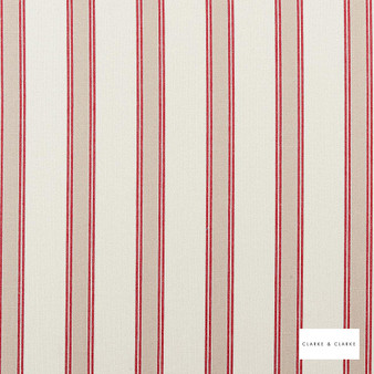 Clarke & Clarke - Oxford Red  | Curtain & Upholstery fabric - Red, Stripe, Traditional, Natural, Natural Fibre