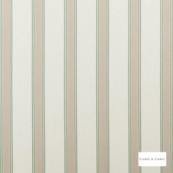 Clarke & Clarke - Oxford Sage  | Curtain & Upholstery fabric - Beige, Stripe, Traditional, Natural, Natural Fibre