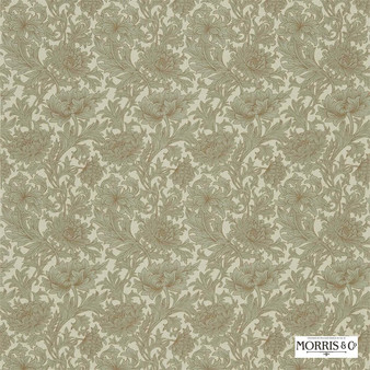 Morris and Co - Chrysanthemum Toile DMCOCH201  | Curtain & Upholstery fabric - Green, Floral, Garden, Botantical, Art Nouveau, Craftsman, Natural