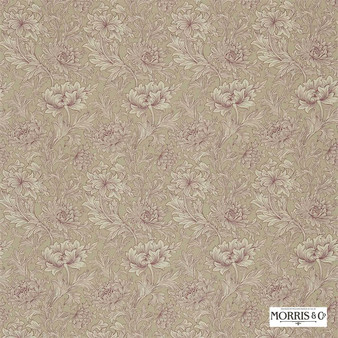 Morris and Co - Chrysanthemum Toile DMCOCH202  | Curtain & Upholstery fabric - Pink, Purple, Tan, Taupe, Floral, Garden, Botantical, Art Nouveau
