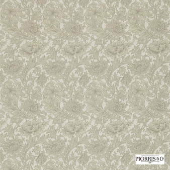 Morris and Co - Chrysanthemum Toile DMCOCH204  | Curtain & Upholstery fabric - Green, Grey, Floral, Garden, Botantical, Art Nouveau, Craftsman