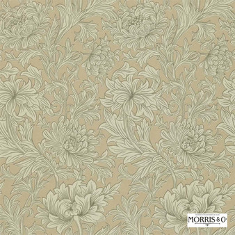 Morris and Co - Chrysanthemum Toile DMOWCH103  | Wallpaper, Wallcovering - Fire Retardant, Beige, Green, Floral, Garden, Botantical, Art Nouveau