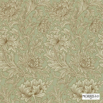 Morris and Co - Chrysanthemum Toile DMOWCH104  | Wallpaper, Wallcovering - Fire Retardant, Green, Floral, Garden, Botantical, Art Nouveau, Craftsman