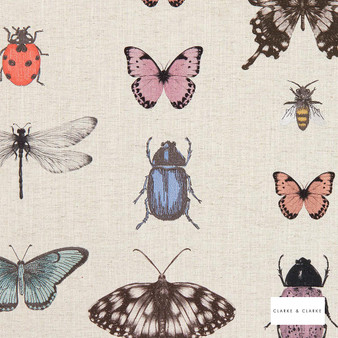 Clarke & Clarke - Papilio Blushnatural  | Curtain Fabric - Pink, Purple, Children, Contemporary, Kids, Embroidery, Animals, Fauna, Fibre Blend