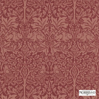 Morris and Co - Brer Rabbit DMORBR101  | Wallpaper, Wallcovering - Fire Retardant, Red, Traditional, Eclectic, Animals, Fauna, Art Nouveau, Birds