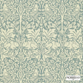 Morris and Co - Brer Rabbit DMORBR103  | Wallpaper, Wallcovering - Fire Retardant, Green, Traditional, Eclectic, Animals, Fauna, Art Nouveau, Birds