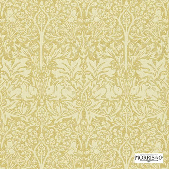 Morris and Co - Brer Rabbit DMORBR104  | Wallpaper, Wallcovering - Fire Retardant, Gold, Yellow, Traditional, Eclectic, Animals, Fauna, Art Nouveau