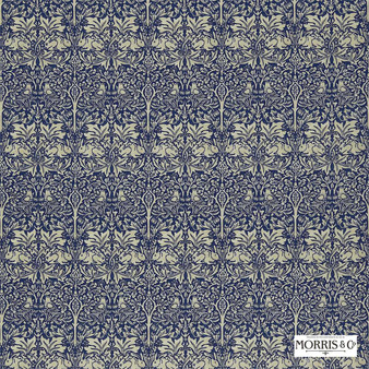 Morris and Co - Brer Rabbit DMORBR205  | Curtain & Upholstery fabric - Blue, Grey, Traditional, Eclectic, Animals, Fauna, Art Nouveau, Birds, Damask