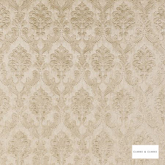 Clarke & Clarke - Pompadour Wp Gold  | Wallpaper, Wallcovering - Vinyl, Gold, Yellow, Traditional, Damask, Rococo, Print