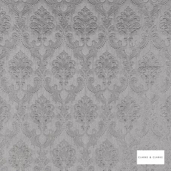 Clarke & Clarke - Pompadour Wp Zinc  | Wallpaper, Wallcovering - Vinyl, Grey, Traditional, Damask, Rococo, Print