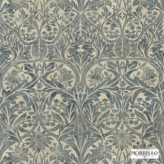 Morris and Co - Bluebell 220329  | Curtain & Upholstery fabric - Blue, Floral, Garden, Botantical, Traditional, Art Nouveau, Craftsman, Damask