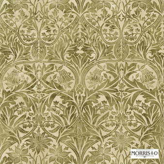 Morris and Co - Bluebell 220330  | Curtain & Upholstery fabric - Green, Traditional, Art Nouveau, Craftsman, Damask, Natural, Natural Fibre