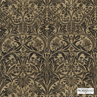 Morris and Co - Bluebell 220331  | Curtain & Upholstery fabric - Brown, Traditional, Art Nouveau, Craftsman, Damask, Natural, Natural Fibre
