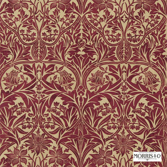 Morris and Co - Bluebell 220332  | Curtain & Upholstery fabric - Red, Traditional, Art Nouveau, Craftsman, Damask, Natural, Natural Fibre