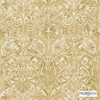 Morris and Co - Bluebell 220333  | Curtain & Upholstery fabric - Gold, Yellow, Traditional, Art Nouveau, Craftsman, Damask, Natural, Natural Fibre