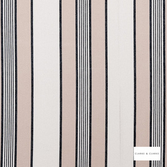 Clarke & Clarke - Regatta Charcoal  | Curtain & Upholstery fabric - Beige, Stripe, Traditional, Natural, Natural Fibre